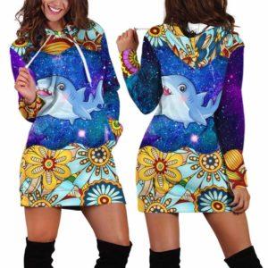 HD-U-Ani-MdlGlxy233-Sark-33@ Animal Chibi Mandala Galaxy Shark-Shark Cute Mandala Galaxy Women'S Hoodie Dress With Pocket. Soft, Comfortable Hooded Sweatshirt Sweater Dress, Custom Gift For Women.