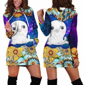 HD-U-Ani-MdlGlxy233-Seal-32@ Animal Chibi Mandala Galaxy Seal-Seal Cute Mandala Galaxy Women'S Hoodie Dress With Pocket. Soft, Comfortable Hooded Sweatshirt Sweater Dress, Custom Gift For Women.