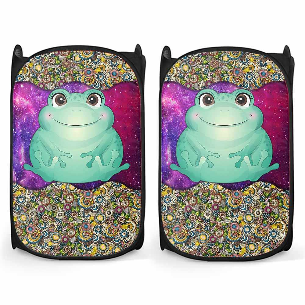 LH-U-Ani-MdlGlxy370-Frog-10@ Animal Chibi Mandala Galaxy Frog-Cute Frog Mandala Galaxy Compact Laundry Hamper. Make Your Laundry Routine Fun And Personalized With Custom Laundry Hamper.