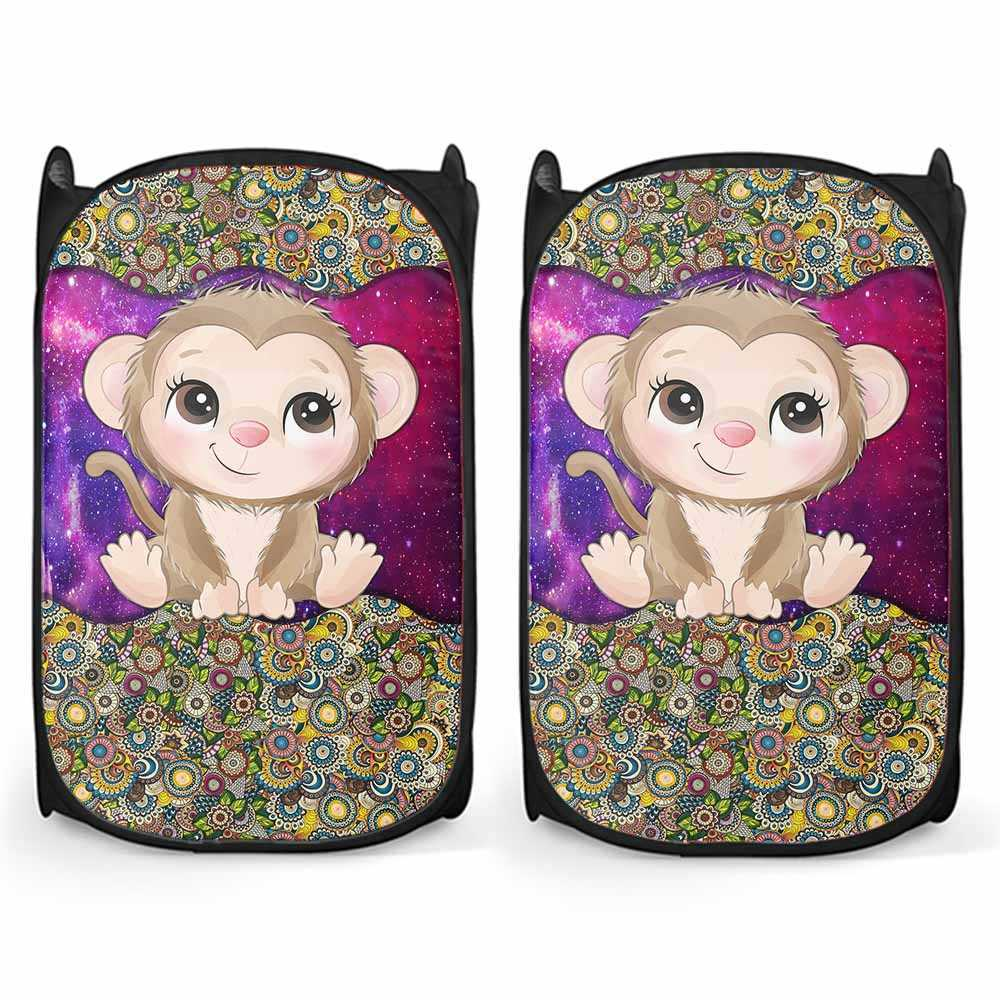 LH-U-Ani-MdlGlxy370-Mkey-20@ Animal Chibi Mandala Galaxy Monkey-Cute Monkey Mandala Galaxy Compact Laundry Hamper. Make Your Laundry Routine Fun And Personalized With Custom Laundry Hamper.