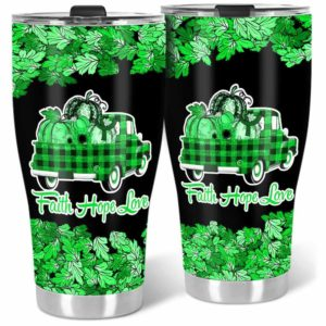 TB-U-Awa-Lf110-Trbi-198@ Awareness - Truck Faith Hope Love Leaf Traumatic Brain Injury-Traumatic Brain Injury Tbi Awareness Ribbon Stainless Steel Vacuum Insulation Tumbler. Fall Pumpkin Truck Custom Gift.