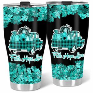 TB-U-Awa-Lf110-Trne-199@ Awareness - Truck Faith Hope Love Leaf Trigeminal Neuralgia-Trigeminal Neuralgia Awareness Ribbon Stainless Steel Vacuum Insulation Tumbler. Fall Pumpkin Truck Custom Gift.