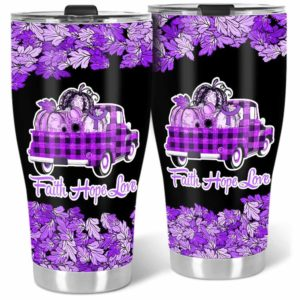 TB-U-Awa-Lf110-Ucol-203@ Awareness - Truck Faith Hope Love Leaf Ulcerative Colitis-Ulcerative Colitis Awareness Ribbon Stainless Steel Vacuum Insulation Tumbler. Fall Pumpkin Truck Custom Gift.