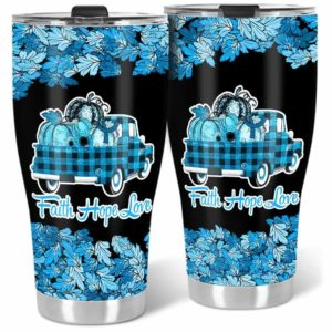 TB-U-Awa-Lf110-Usyn-204@ Awareness - Truck Faith Hope Love Leaf Usher Syndrome-Usher Syndrome Awareness Ribbon Stainless Steel Vacuum Insulation Tumbler. Fall Pumpkin Truck Custom Gift.