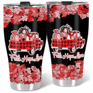 TB-U-Awa-Lf110-Vcis-205@ Awareness - Truck Faith Hope Love Leaf Vasculitis-Vasculitis Awareness Ribbon Stainless Steel Vacuum Insulation Tumbler. Fall Pumpkin Truck Custom Gift.