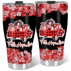 TB-U-Awa-Lf110-Wgra-208@ Awareness - Truck Faith Hope Love Leaf Wegener's Granulomatosis-Wegener'S Granulomatosis Granulomatosis With Polyangiitis Awareness Ribbon Stainless Steel Tumbler. Fall Pumpkin Truck Custom Gift.