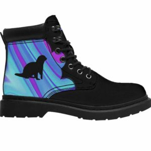 ASB-U-Ani-AbPurpBlue1002-Oter-41 @ Abstract Purple Blue Otter-Otter All Season Boots Vegan Leather Boots, Gift For Women And Men. Blue Purple Custom Personalized All Weather Hiking Boots.