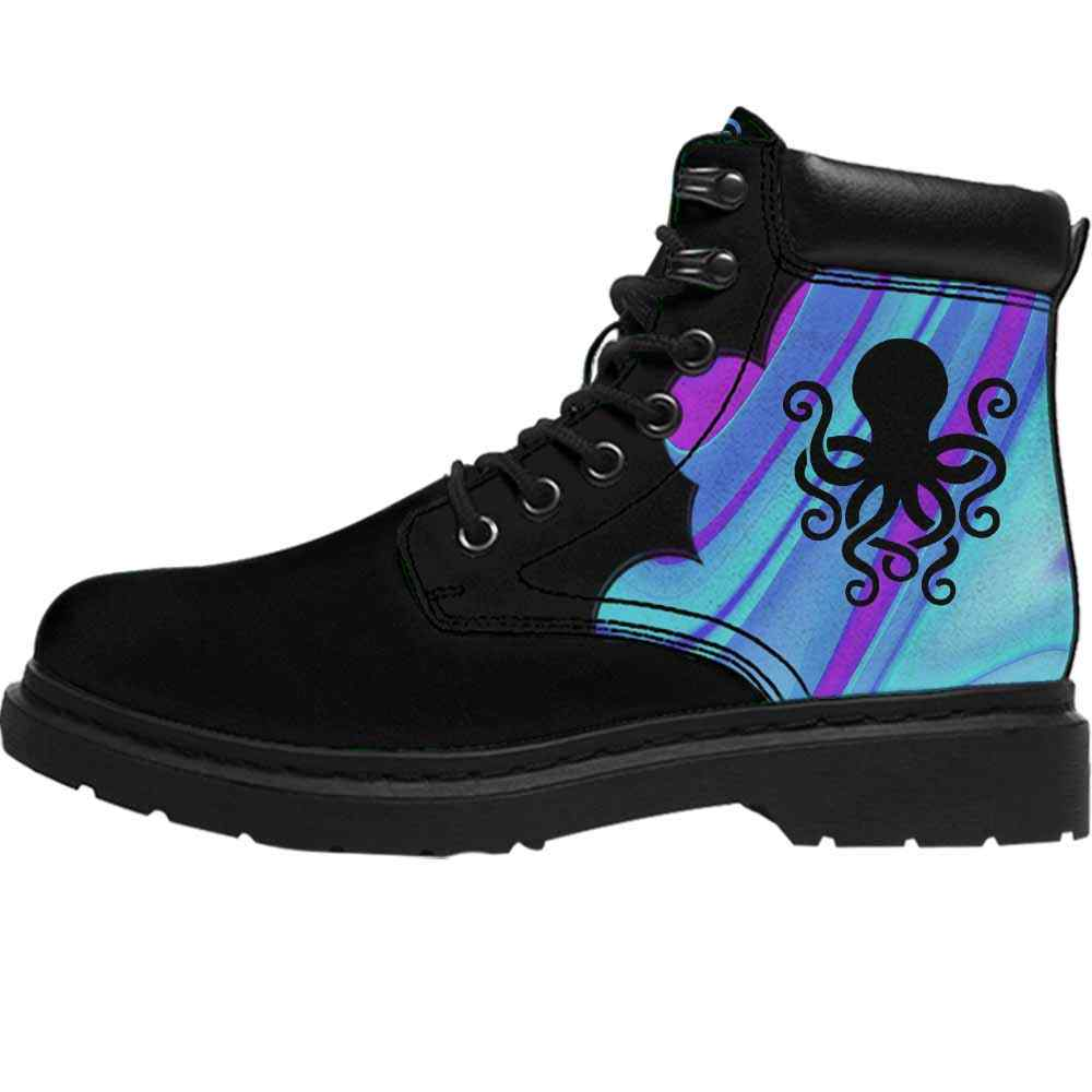 ASB-U-Ani-AbPurpBlue1002-Otpus-40 @ Abstract Purple Blue Octopus-Octopus All Season Boots Vegan Leather Boots, Gift For Women And Men. Blue Purple Custom Personalized All Weather Hiking Boots.