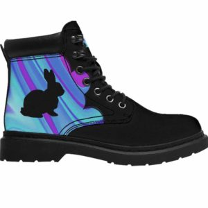 ASB-U-Ani-AbPurpBlue1002-Rbbt-48 @ Abstract Purple Blue Rabbit-Rabbit Bunny All Season Boots Vegan Leather Boots, Gift For Women And Men. Blue Purple Custom Personalized All Weather Hiking Boots.