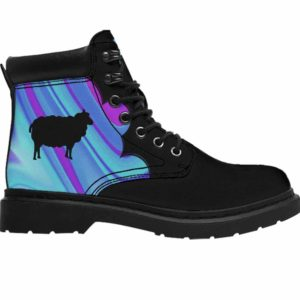 ASB-U-Ani-AbPurpBlue1002-Shep-55 @ Abstract Purple Blue Sheep-Sheep All Season Boots Vegan Leather Boots, Gift For Women And Men. Blue Purple Custom Personalized All Weather Hiking Boots.
