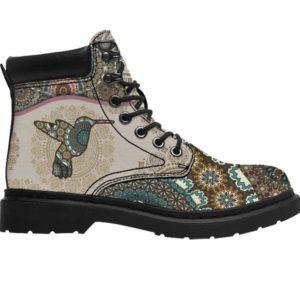 ASB-U-Ani-PtnMdl1002-Hmbd-27 @ Pattern Mandala Hummingbird-Hummingbird All Season Boots Vegan Leather Boots, Gift For Women And Men. Mandala Custom Personalized All Weather Hiking Boots.