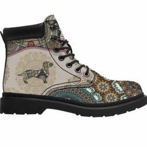 ASB-U-Dog-GreeYellMdl1003-Dach-9 @ Green Yellow Mandala Dachshund-Dachshund Dog Lovers All Season Boots Vegan Leather Boots, Gift For Women And Men. Mandala Dog Mom Dog Dad Custom Hiking Boots.