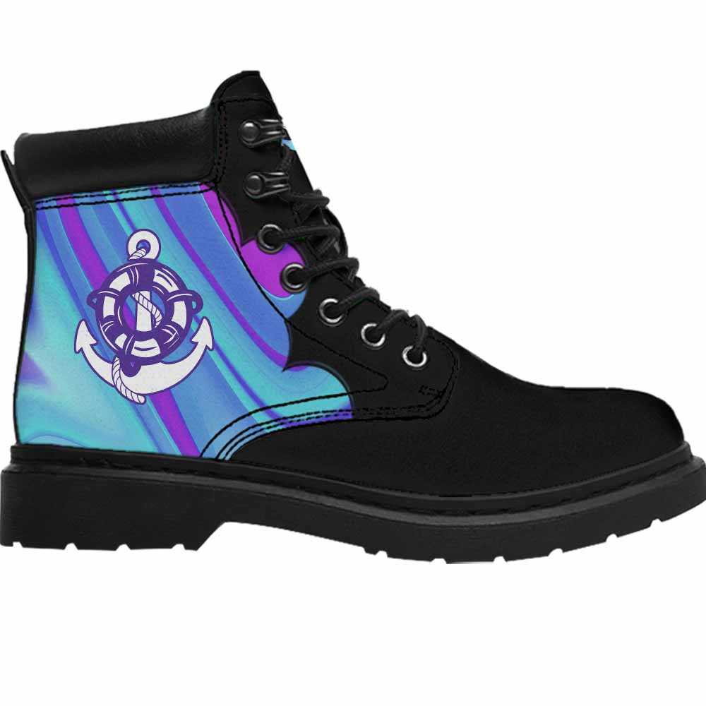 ASB-U-Job-AbPurpBlue1002-Cog-14 @ Abstract Purple Blue Coast Guard-Coast Guard All Season Boots Vegan Leather Boots, Gift For Women And Men. Blue Purple Custom Personalized All Weather Hiking Boots.