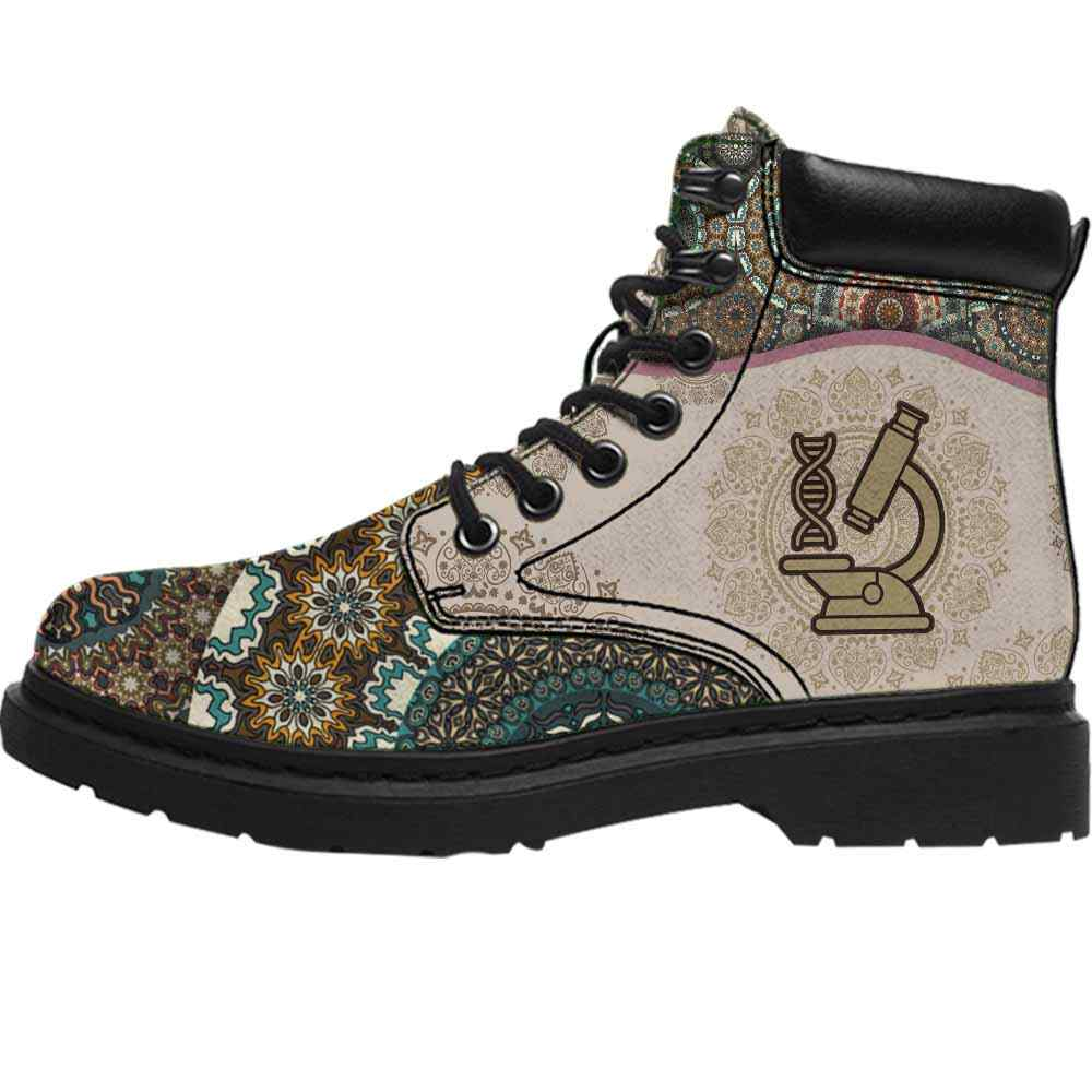 ASB-U-Job-GreeYellMdl1002-Blg-7 @ Green Yellow Mandala Biologist-Biologist All Season Boots Vegan Leather Boots, Gift For Women And Men. Mandala Custom Personalized All Weather Hiking Boots.