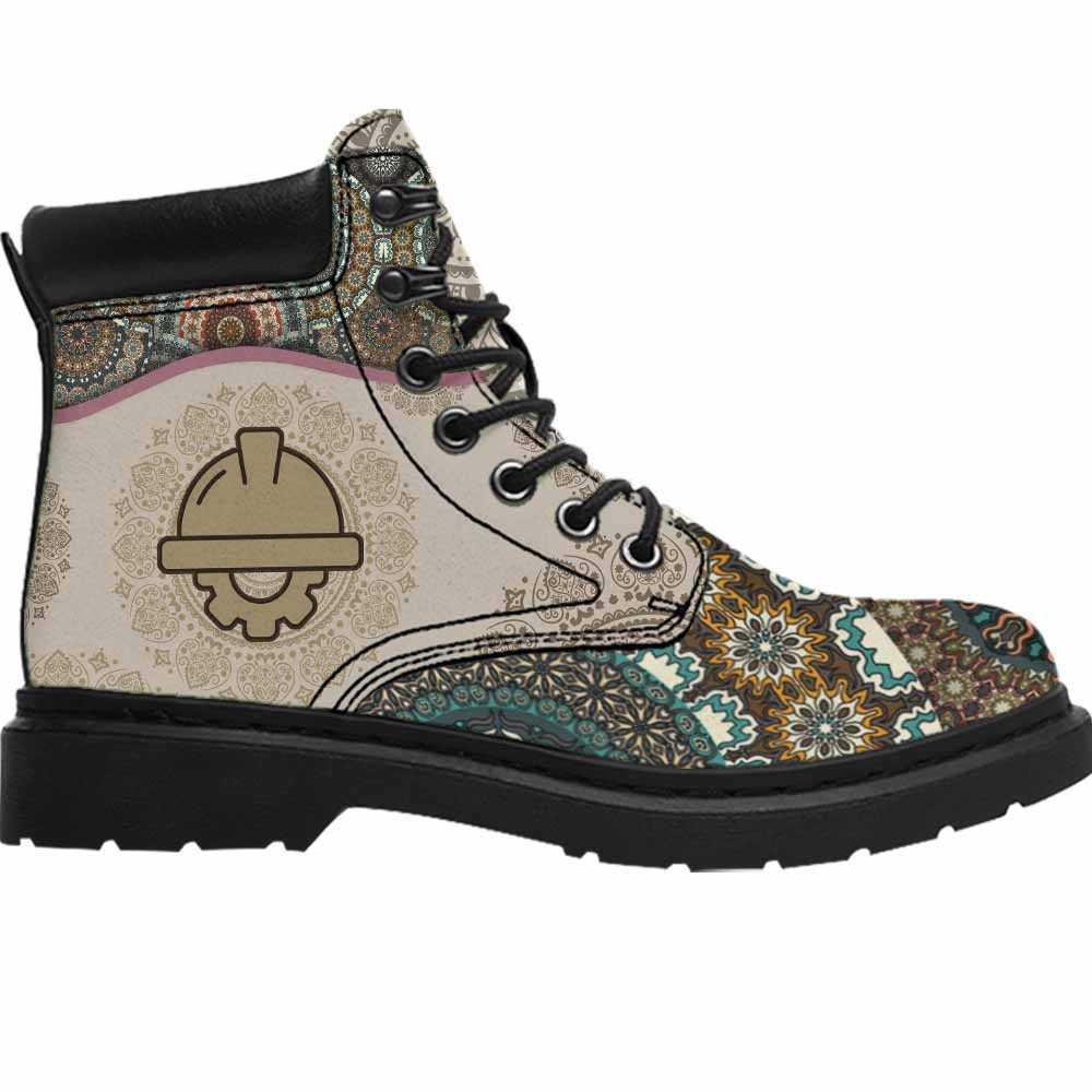 ASB-U-Job-GreeYellMdl1002-Cegn-11 @ Green Yellow Mandala Civil Engineer-Civil Engineer All Season Boots Vegan Leather Boots, Gift For Women And Men. Mandala Custom Personalized All Weather Hiking Boots.