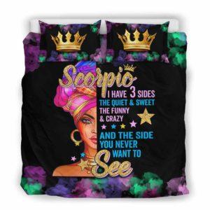 BC-U-Age-201-Scp-2 @ Age -2 Scorpio-Scorpio Woman, Scorpio Girl, Scorpio Birthday Queen Bed Cover Bedding Set. Custom Personalized Zodiac Gift For Women.
