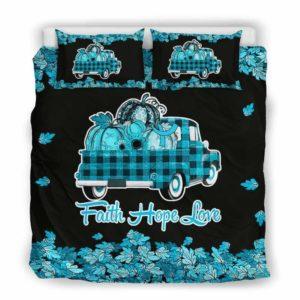 BC-U-Awa-Lf100-2211d-2@ Awareness - Truck Faith Hope Love Leaf 22q11.2 Deletion-22Q11.2 Deletion Digeorge Syndrome Awareness Ribbon Bed Cover. Fall Pumkin Truck Bedding Set Custom Gift.