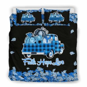 BC-U-Awa-Lf100-ALS-12@ Awareness - Truck Faith Hope Love Leaf ALS-Als Amyotrophic Lateral Sclerosis Awareness Ribbon Bed Cover. Fall Pumkin Truck Bedding Set Custom Gift.