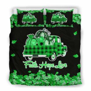 BC-U-Awa-Lf100-Adca-6@ Awareness - Truck Faith Hope Love Leaf Adrenal Cancer-Adrenal Cancer Awareness Ribbon Bed Cover. Fall Pumkin Truck Bedding Set Custom Gift.