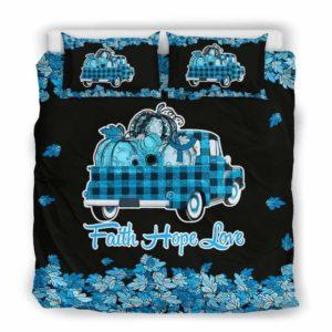 BC-U-Awa-Lf100-Alar-11@ Awareness - Truck Faith Hope Love Leaf Alopecia Areata-Alopecia Areata Awareness Ribbon Bed Cover. Fall Pumkin Truck Bedding Set Custom Gift.