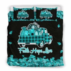 BC-U-Awa-Lf100-Algy-9@ Awareness - Truck Faith Hope Love Leaf Allergy-Allergy Awareness Ribbon Bed Cover. Fall Pumkin Truck Bedding Set Custom Gift.