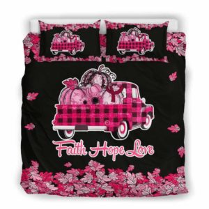 BC-U-Awa-Lf100-Amyl-14@ Awareness - Truck Faith Hope Love Leaf Amyloidosis-Amyloidosis Awareness Ribbon Bed Cover. Fall Pumkin Truck Bedding Set Custom Gift.