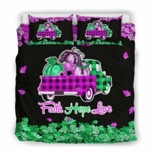 BC-U-Awa-Lf100-Anca-15@ Awareness - Truck Faith Hope Love Leaf Anal Cancer-Anal Cancer Awareness Ribbon Bed Cover. Fall Pumkin Truck Bedding Set Custom Gift.