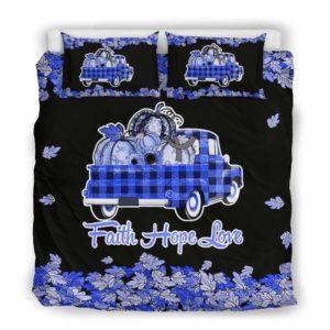 BC-U-Awa-Lf100-Apha-18@ Awareness - Truck Faith Hope Love Leaf Aphasia-Aphasia Awareness Ribbon Bed Cover. Fall Pumkin Truck Bedding Set Custom Gift.