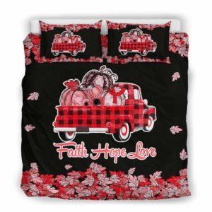 BC-U-Awa-Lf100-Apla-19@ Awareness - Truck Faith Hope Love Leaf Aplastic Anemia-Aplastic Anemia Awareness Ribbon Bed Cover. Fall Pumkin Truck Bedding Set Custom Gift.