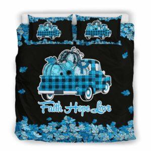 BC-U-Awa-Lf100-Apra-21@ Awareness - Truck Faith Hope Love Leaf Apraxia-Apraxia Awareness Ribbon Bed Cover. Fall Pumkin Truck Bedding Set Custom Gift.