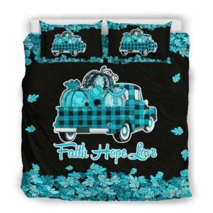 BC-U-Awa-Lf100-Asth-23@ Awareness - Truck Faith Hope Love Leaf Asthma-Asthma Awareness Ribbon Bed Cover. Fall Pumkin Truck Bedding Set Custom Gift.