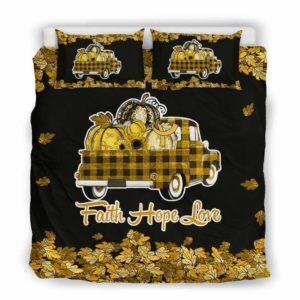 BC-U-Awa-Lf100-Chca-48@ Awareness - Truck Faith Hope Love Leaf Childhood Cancer-Childhood Cancer Awareness Ribbon Bed Cover. Fall Pumkin Truck Bedding Set Custom Gift.