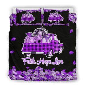 BC-U-Awa-Lf100-Ucol-203@ Awareness - Truck Faith Hope Love Leaf Ulcerative Colitis-Ulcerative Colitis Awareness Ribbon Bed Cover. Fall Pumkin Truck Bedding Set Custom Gift.