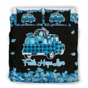 BC-U-Awa-Lf100-Usyn-204@ Awareness - Truck Faith Hope Love Leaf Usher Syndrome-Usher Syndrome Awareness Ribbon Bed Cover. Fall Pumkin Truck Bedding Set Custom Gift.
