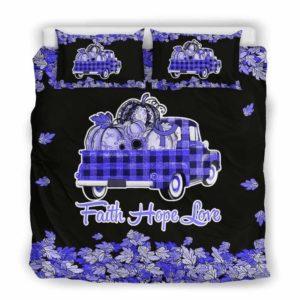 BC-U-Awa-Lf100-Vcan-206@ Awareness - Truck Faith Hope Love Leaf Vulvar Cancer-Vulvar Cancer Awareness Ribbon Bed Cover. Fall Pumkin Truck Bedding Set Custom Gift.