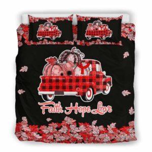 BC-U-Awa-Lf100-Vcis-205@ Awareness - Truck Faith Hope Love Leaf Vasculitis-Vasculitis Awareness Ribbon Bed Cover. Fall Pumkin Truck Bedding Set Custom Gift.