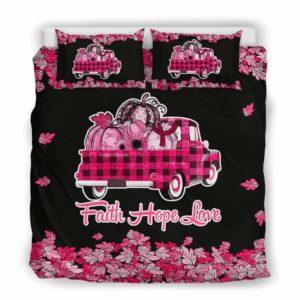 BC-U-Awa-Lf100-Wisy-209@ Awareness - Truck Faith Hope Love Leaf Williams Syndrome-Williams Syndrome Awareness Ribbon Bed Cover. Fall Pumkin Truck Bedding Set Custom Gift.