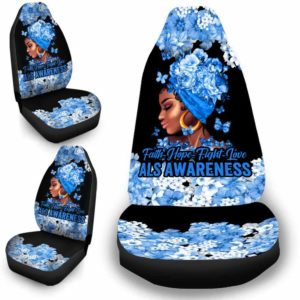 CSC-W-Awa-FlwrBlgr10010-ALS-12 @ Faith Hope Fight Love Flower Black Girl ALS-Als Amyotrophic Lateral Sclerosis Awareness Ribbon Flower Car Seat Cover. Faith Hope Fight Love Car Accessory Custom Gift.