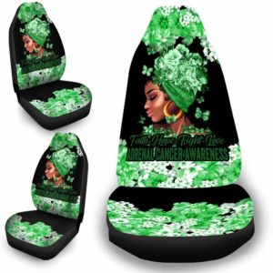 CSC-W-Awa-FlwrBlgr10010-Adca-6 @ Faith Hope Fight Love Flower Black Girl Adrenal Cancer-Adrenal Cancer Awareness Ribbon Flower Car Seat Cover. Faith Hope Fight Love Car Accessory Custom Gift.