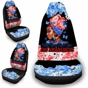 CSC-W-Awa-FlwrBlgr1008-Chd-42 @ Faith Hope Fight Love Flower Black Girl CHD-Chd Congenital Heart Defect Awareness Ribbon Flower Car Seat Cover. Faith Hope Fight Love Car Accessory Custom Gift.