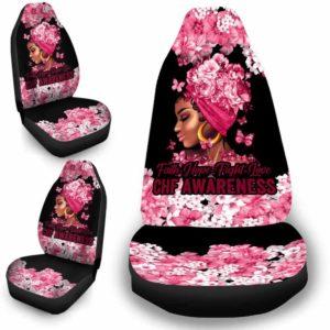 CSC-W-Awa-FlwrBlgr1008-Chf-43 @ Faith Hope Fight Love Flower Black Girl CHF-Chf Congestive Heart Failure Awareness Ribbon Flower Car Seat Cover. Faith Hope Fight Love Car Accessory Custom Gift.