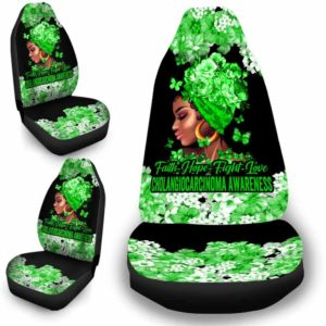 CSC-W-Awa-FlwrBlgr1008-Chma-46 @ Faith Hope Fight Love Flower Black Girl Cholangiocarcinoma-Cholangiocarcinoma Bile Duct Cancer Awareness Ribbon Flower Car Seat Cover. Faith Hope Fight Love Car Accessory Custom Gift.