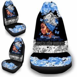 CSC-W-Awa-FlwrBlgr1008-Cocm-51 @ Faith Hope Fight Love Flower Black Girl Corpus Callosum-Corpus Callosum Awareness Ribbon Flower Car Seat Cover. Faith Hope Fight Love Car Accessory Custom Gift.