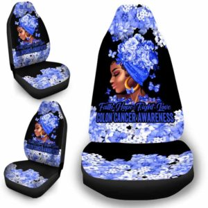 CSC-W-Awa-FlwrBlgr1008-ColCan-49 @ Faith Hope Fight Love Flower Black Girl Colon Cancer-Colon Cancer Colorectal Cancer Awareness Ribbon Flower Car Seat Cover. Faith Hope Fight Love Car Accessory Custom Gift.