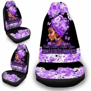 CSC-W-Awa-FlwrBlgr1008-Crco-53 @ Faith Hope Fight Love Flower Black Girl Crohn's & Colitis-Crohn'S & Colitis Awareness Ribbon Flower Car Seat Cover. Faith Hope Fight Love Car Accessory Custom Gift.