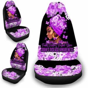 CSC-W-Awa-FlwrBlgr1008-Crdi-54 @ Faith Hope Fight Love Flower Black Girl Crohn's Disease-Crohn'S Disease Inflammatory Bowel Disease Awareness Ribbon Flower Car Seat Cover. Faith Hope Fight Love Car Accessory Custom Gift.
