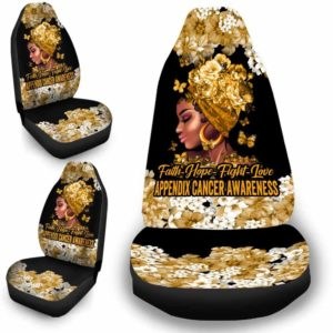 CSC-W-Awa-FlwrBlgr1009-AppCan-20 @ Faith Hope Fight Love Flower Black Girl Appendix Cancer-Appendix Cancer Awareness Ribbon Flower Car Seat Cover. Faith Hope Fight Love Car Accessory Custom Gift.