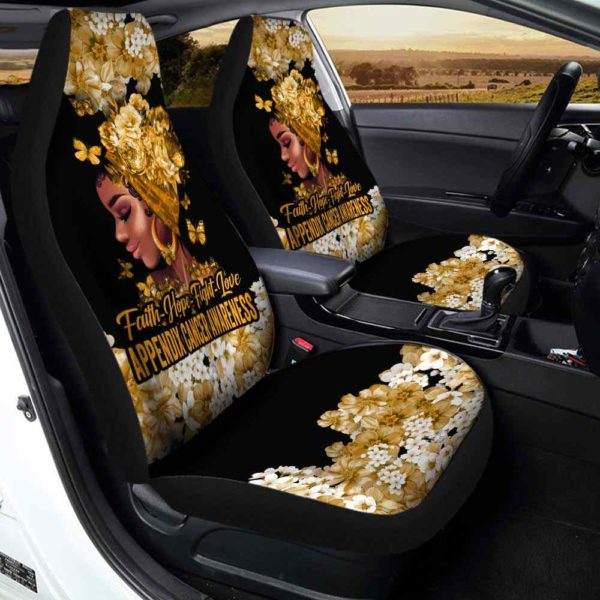 CSC-W-Awa-FlwrBlgr1009-AppCan-20 @ Faith Hope Fight Love Flower Black Girl Appendix Cancer-Appendix Cancer Awareness Ribbon Flower Car Seat Cover. Faith Hope Fight Love Car Accessory Custom Gift.