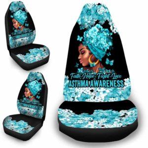 CSC-W-Awa-FlwrBlgr1009-Asth-23 @ Faith Hope Fight Love Flower Black Girl Asthma-Asthma Awareness Ribbon Flower Car Seat Cover. Faith Hope Fight Love Car Accessory Custom Gift.