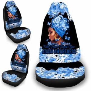 CSC-W-Awa-FlwrBlgr1009-Atax-24 @ Faith Hope Fight Love Flower Black Girl Ataxia-Ataxia Awareness Ribbon Flower Car Seat Cover. Faith Hope Fight Love Car Accessory Custom Gift.